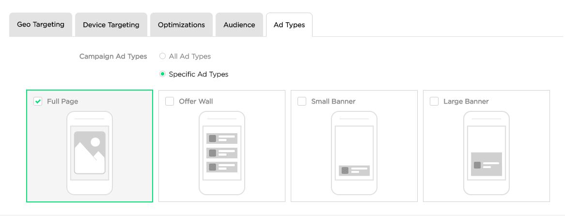 Targeting By Ad Type – StartApp